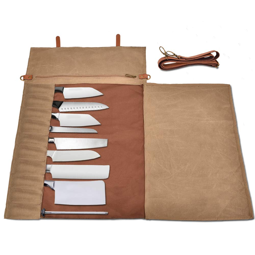 Chef Knife Storage Roll Bag,10 Separate Slots, Handmade,Durable,Washable,Waterproof Waxed Canvas Stores 10 Knives and Zipper Pocket and Shoulder Strap,Knives Not Included(28inches x 17.5inches)
