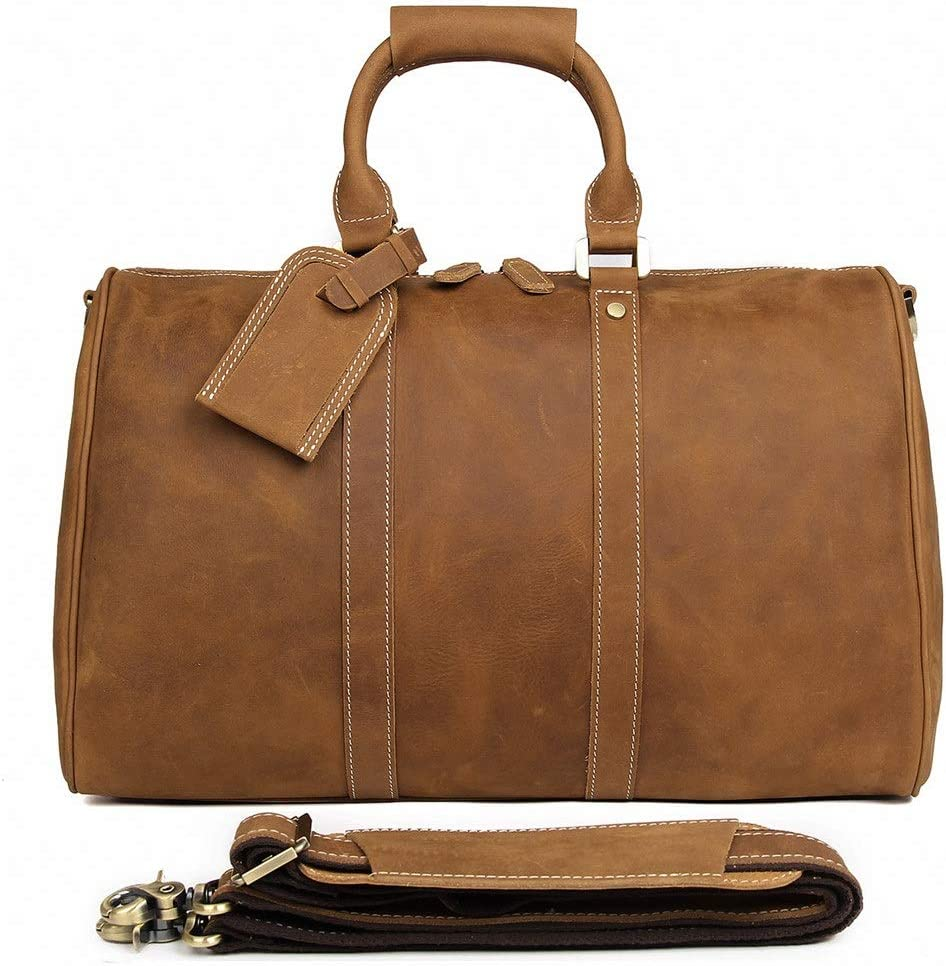 HDHUA Leather Shoes Luggage Sports and Leisure Leather Handbag Travel Bag Business Trip Color : Brown, Size : 17 INCHES