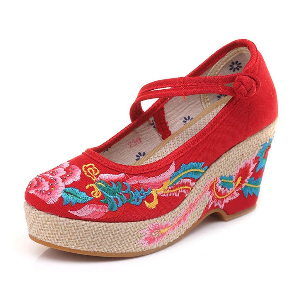 XHX Chaussures À Talons Red pour Hauts Taille Brodés À La Mode Chaussures À Talons Compensés Élégants Chaussures Respirantes pour Femmes Rétro 8CM (Couleur : Red, Taille : 37) Red 1d0428e - automaticcouplings.space