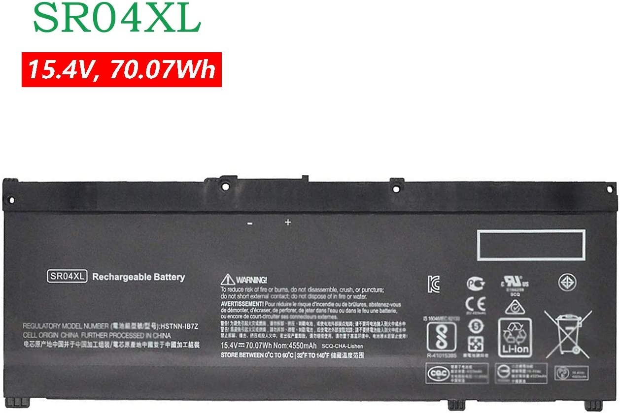 BOWEIRUI Replacement Laptop Battery for Hp SR04XL (15.4V 70.07Wh 4550mAh) Pavilion 15-CB000 Power 15-CB000 15-CE015DX 15-CE000 15-DC0000 Series 917678-1B1 917678-2B1 917724-855 HSTNN-DB7W HSTNN-IB7Z