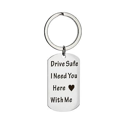 AmDxD Acero Inoxidable Llavero Hombre Elegante Drive Safe I ...