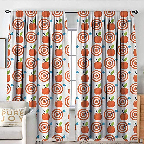 Scarlet Pinstripe Short - Pattern Curtains Apple,Bulls Eye Pattern with Arrow and Red Fruit Motif Natural Summer,Scarlet Azure Blue Fern Green,All Season Thermal Insulated Solid Room Drapes 72