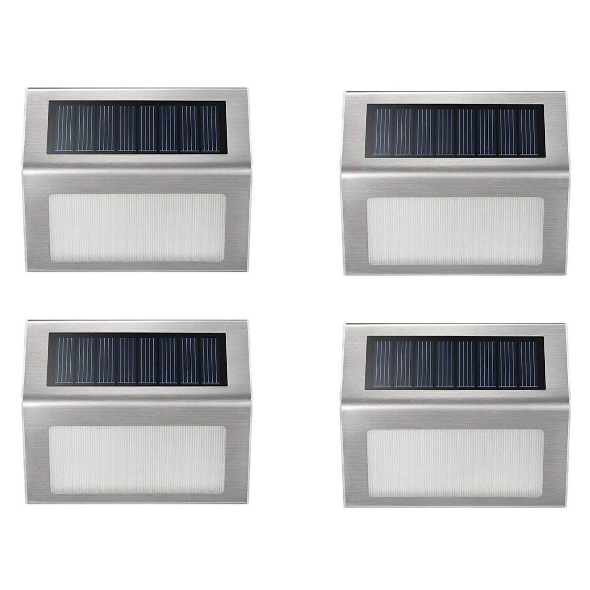 Solar Deck Lights, iThird 3 LED Solar Powered Step Lights Stainless Steel Outdoor Lighting for Stair Fence Paths Auto On/Off Waterproof 4 Pack by iThird