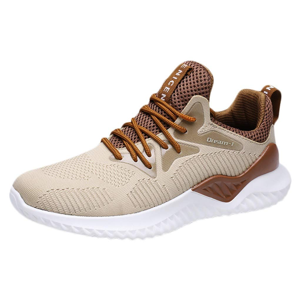 HOSOME Mens Breathable Running Sneakers Sport Flat Athletic Round Toe Shoes Yellow