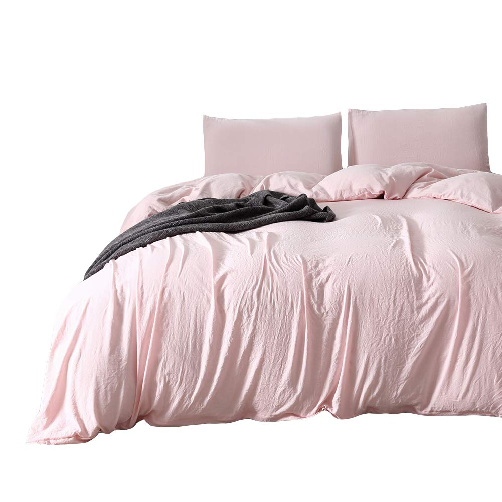 MOVE OVER Pink Bedding Light Pink Duvet Cover Set Washed Cotton Microfiber Quilt Cover Soft Pink Girls Bedding Sets Queen (90''x90'') One Peach Duvet Cover Two Pillowcases (Queen, Pink/Peach)