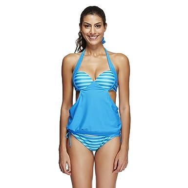 FeelinGirl Maillots de Bain 2 Pièces Femme avec Bas de Maillot Tankini Cache Ventre Push Up Bikini avec Short Taille S-3XL