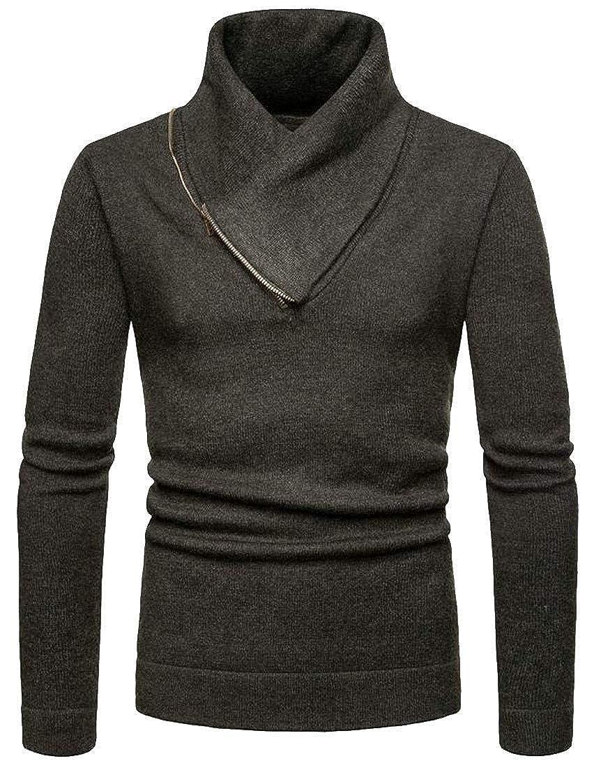 Joe Wenko Men Knitwear Turtle Neck Slim Fit Long Sleeve Zipper Sweater Jumper