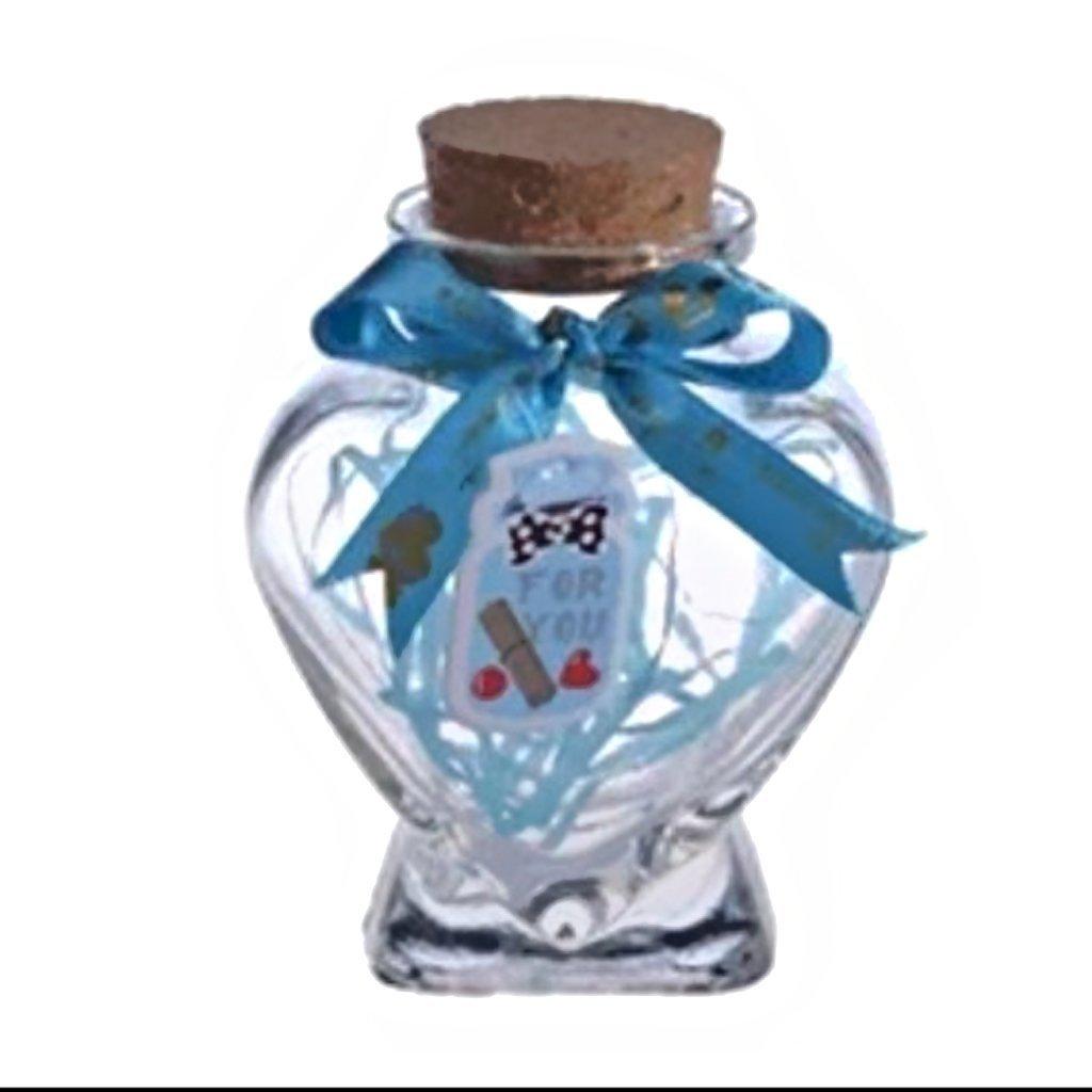 Mini forma de corazón Botella de vidrio Tarros de almacenamiento transparente Contenedores de botellas Viales Botella de deseo con corcho: Amazon.es: Hogar