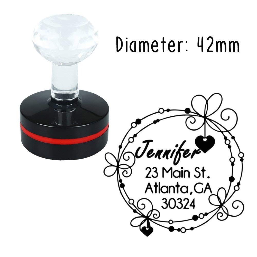 42mm Love Dropping Flower Decorative Design Personalized Self Inking Rubber Monogram Address Name Script Font Stamp Customized Art Elegant Text Pre Ink Stamping for Gift Cards