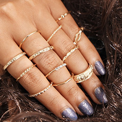 Setita 12 Pieces Turkish Retro Cross Eagle Carving Joint Knuckle Nail Midi Ring Set Boho Ring Set (Rope Type - 12pcs Gol) (Set Rope Carving)