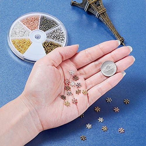 Kissitty 264Pcs//box 6 Colors Zinc Alloy Snowflake Spacer Beads 8x2mm Daisy Flowe