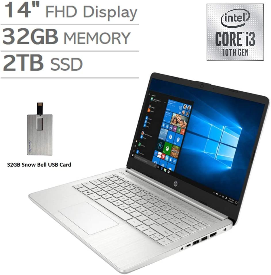 "2020 HP 14"" FHD Display Laptop Computer, 10th Gen Intel Core i3-1005G1 Processor, 32GB RAM, 2TB PCIe SSD, Backlit Keyboard, HD Webcam, HD Audio, HDMI, Windows 10 S, Silver, 32GB Snow Bell USB Card"