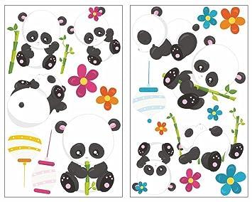 Samunshi 19 Teiliges Susse Pandas Pandabar Wandtattoo Set