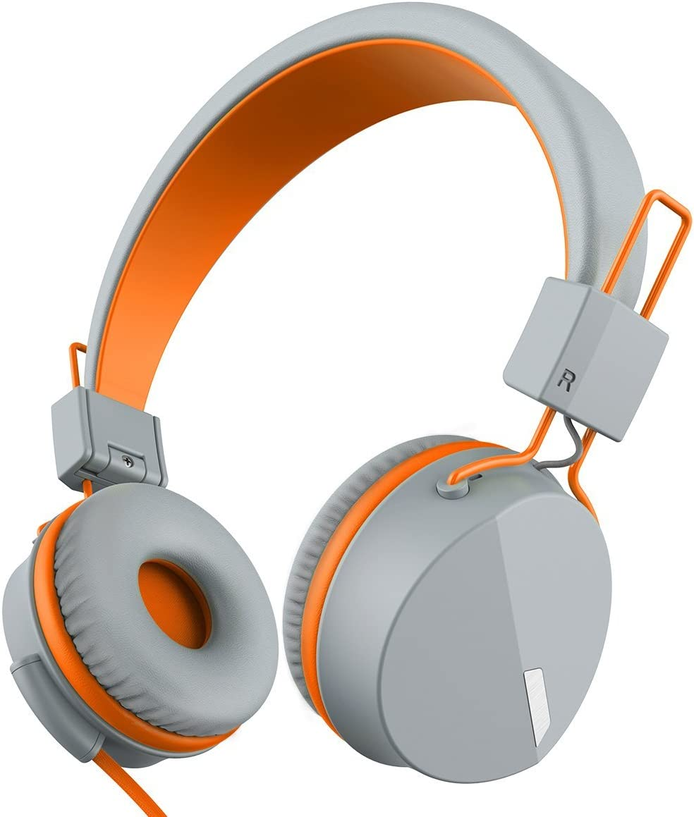 Kanen I39 Headphones On ear Foldable Noise Isolating Headsets with Mic and Remote for Kids Adults Orange