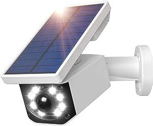Solar Light Motion Sensor Security Dummy Camera Wireless Outdoor Flood Light IP66 Waterproof 800 Lumens 8 LED Lamp 3 Modes for Home Porch Yard Garden