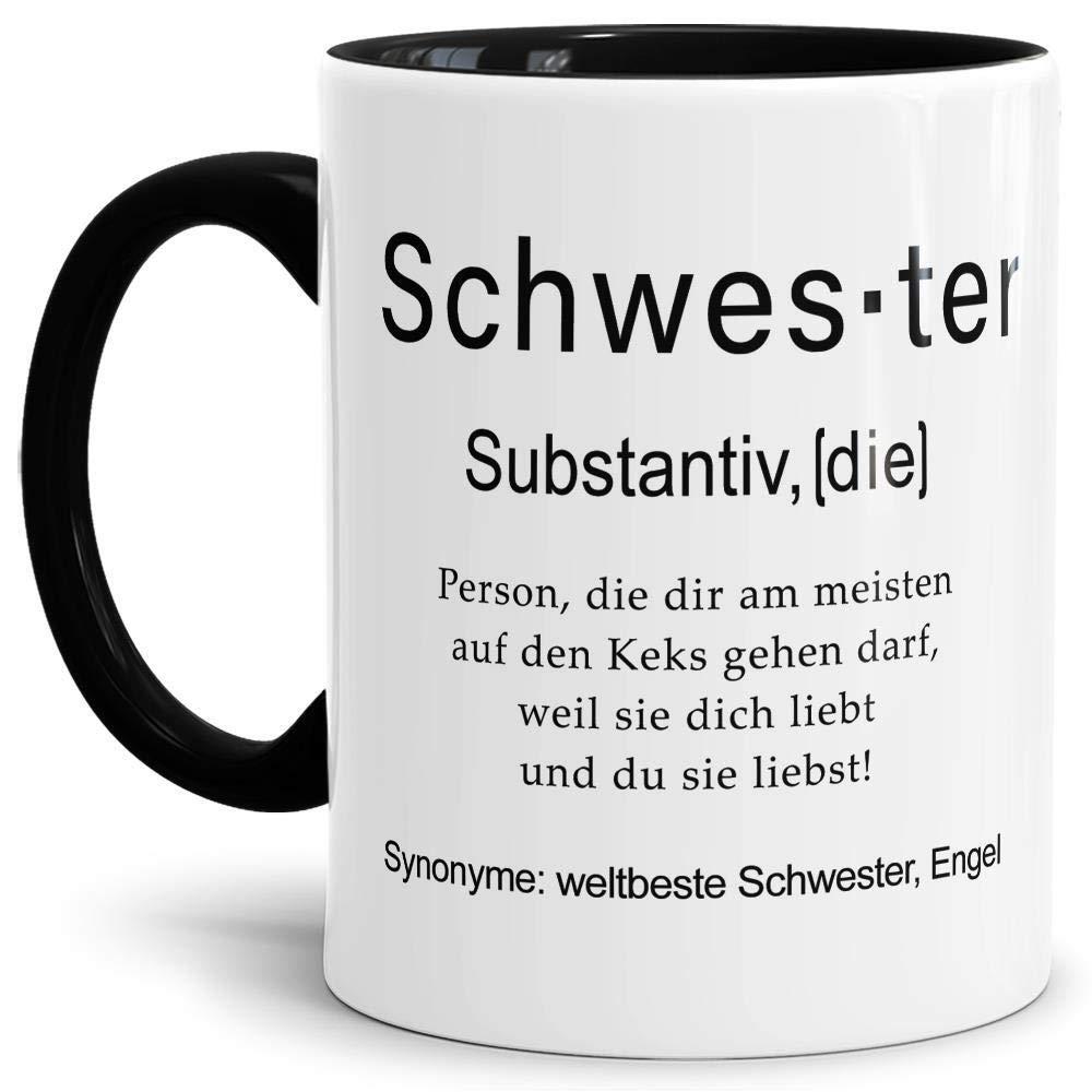 Tassendruck Tasse mit Definition Schwester - Wörterbuch/Geschenk-Idee/Dictionary/Beruf/Job/Arbeit/Familie/Innen & Henkel Schwarz Bild