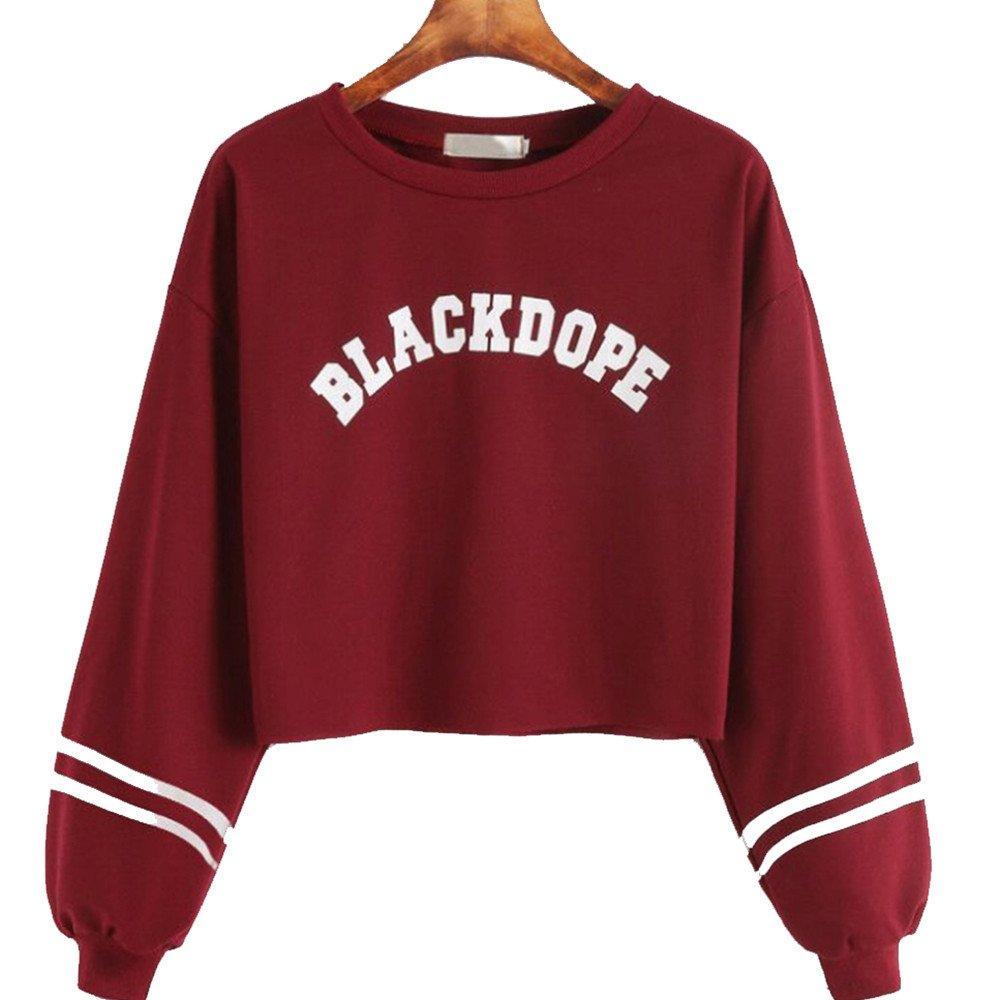 VANSOON Womens Teen Girls Letters Printing Long Sleeve Sweatshirt Short Pullover Tunic Tops Blouse Crop Top Shirt