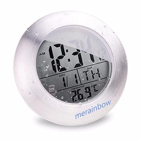 merainbow impermeable baño Reloj digital de cocina con termómetro digital/ventosa, con agujero para