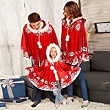 GBSELL Women Family Christmas Cloak,Adult Kids Family Matching Christmas Hooded Cape Santa Coat (Red, Adult)