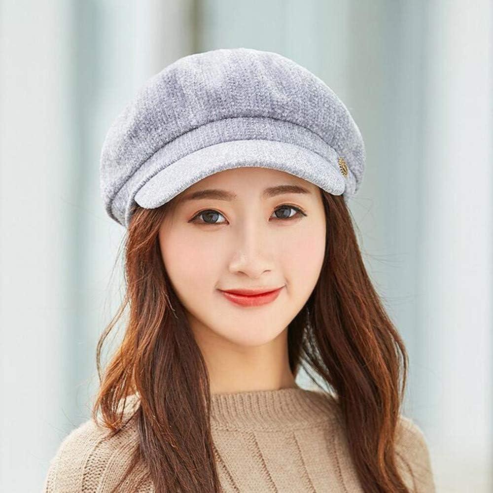 Memela Womens Beret Newsboy Hat Cap Ladies Winter Warm Chenille Fashion Cap Dome Trend