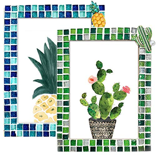 Mosaic Tiles Kits for Crafts Adult Photo Frame Wall Decor OrTabletop DIY Mosaic Blue Green Supplies for Housewarming Birthday Gift by Mosaic Joy (Blue&Green, 2PCS)