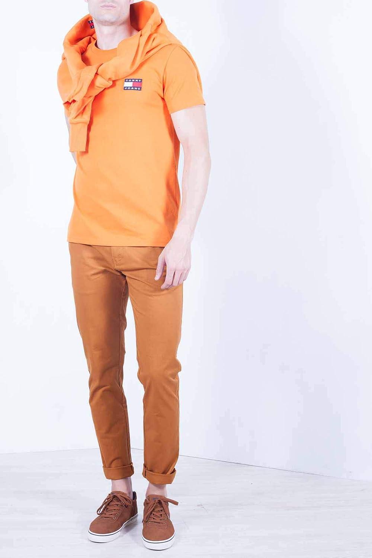 TOMMY JEANS - Mens orange badge T-Shirt - Size XS: Amazon.es ...