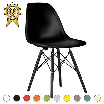 MOBISTYL 1 X Chaise Design Inspiration Eiffel Pieds Bois Noir Assise DSWB NO
