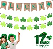 DMIGHT St.Patricks Day Decorations,2 Felt Shamrock Clover Garland+ 1 Lucky Burlap Banner,St. Patrick 's Day Banner Decor perf
