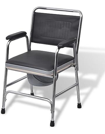 VidaXL Chaise Percee Acier Noir Personnes Handicapee Agee Mobilite Reduite