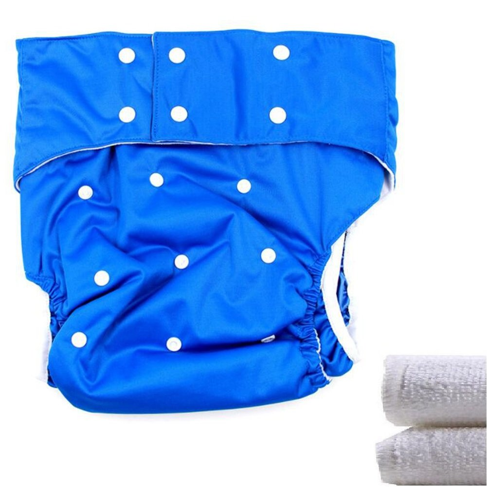LukLoy - Teen / Adults Cloth Diapers Nappy with 2pcs Inserts for Incontinence Care -Dual Opening Pocket Washable Adjustable Reusable Leakfree (Dark Blue) Shenzhen M-Home Co. Ltd