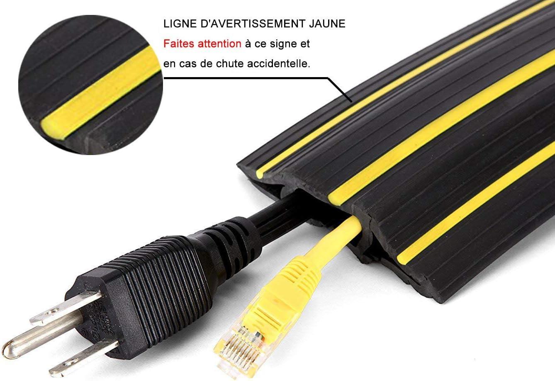 Passe Câble Sol Souple  Passage Plancher Souple  Goulotte de Sol   Prévient les Accidents au Travail  10 passages pour câbles et fils  10M