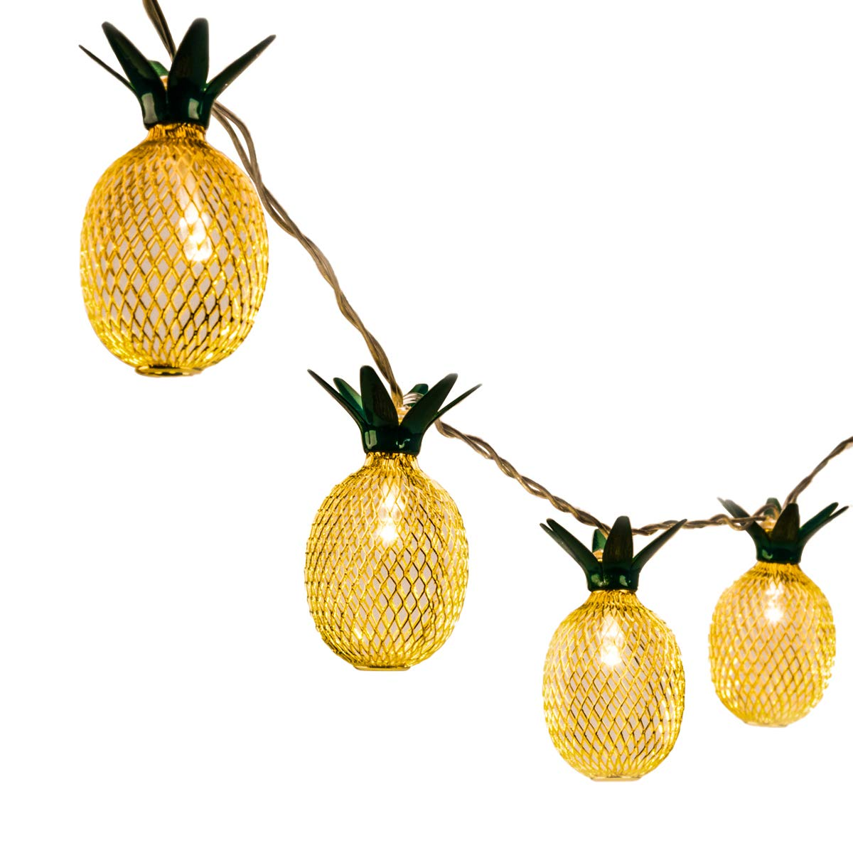 GIGALUMI Pineapple String Lights, 15ft 20 LED Fairy String Lights Battery Operated for Patio Home Wedding Party Bedroom Birthday Decoration (Warm White) by GIGALUMI (Image #1)