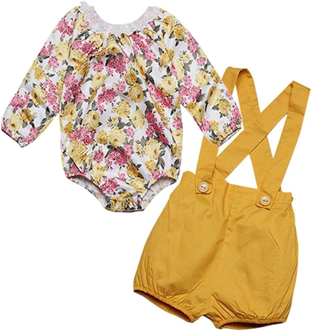 Lanhui/_Sunny Baby Girls Outfits Clothes Lace Floral Romper Tops+Shorts Pants Set