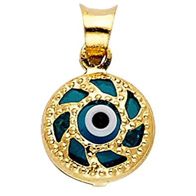 Amazon 14k yellow gold evil eye pendant jewelry 14k yellow gold evil eye pendant aloadofball Gallery