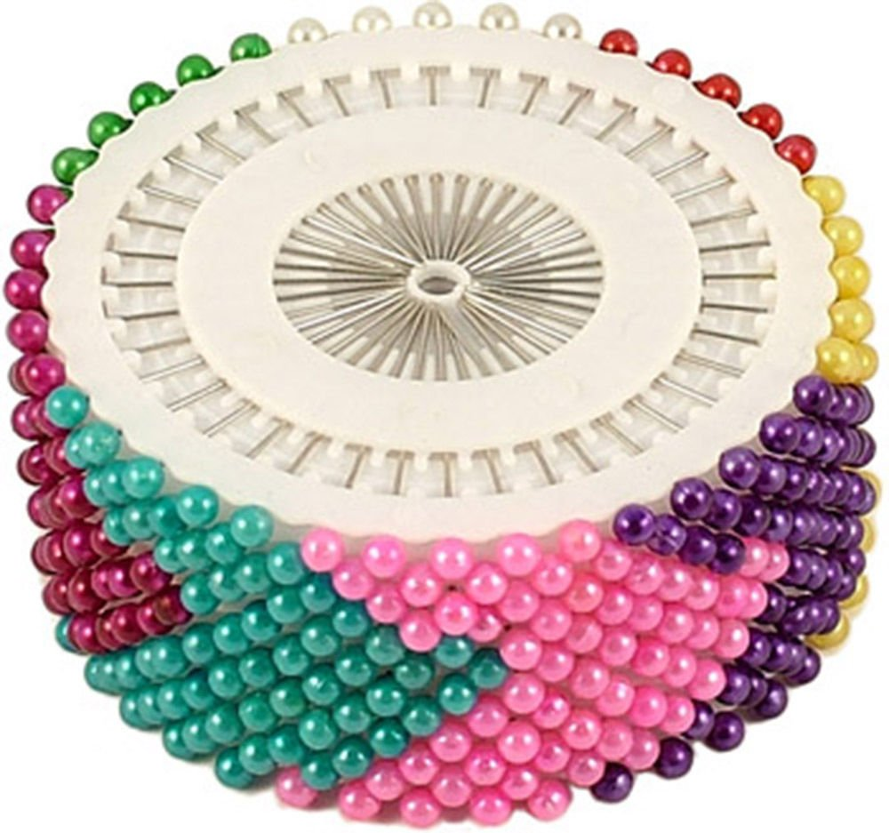 PEARLISED BEAD PIN ROSETTE HIJAB CRAFT DRESS MAKER SEWING SCARF PEARL NEEDLEWORK