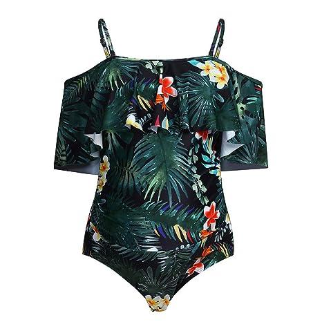 Designermode Angebot billig zu verkaufen Umstandsbadeanzug Damen Sexy Schlinge Siamese Rüschen Blatt ...