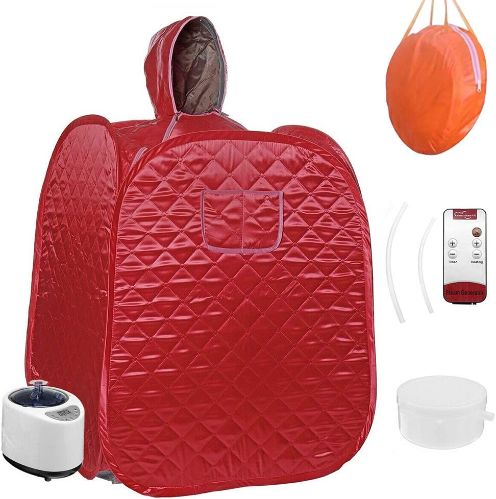 QingYi Portable Steam Home Sauna Foldable Steam Sauna Upgrade 2L Steamer, with steam Hose Herbs Kit Remote Control,Lightweight Tent, One Person Full Body Spa for Weight Loss Detox Therapy (Red)