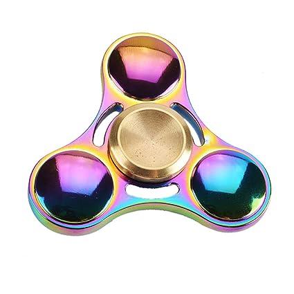 EGELBEL Stress Reducer Metal Tri Spinner EDC Fidget ToyRainbow
