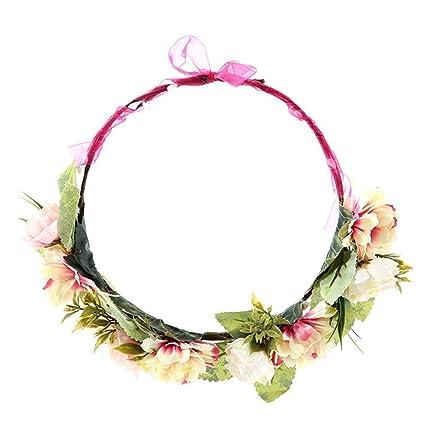 ToDIDAF - Diadema de flores para novia, corona floral ...