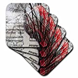 3dRose cst_47448_3 Double Exposure of Sheet of Music, Wire Framed Glasses and St. George Lds Temple in Back-Ceramic Tile Coasters, Set of 4