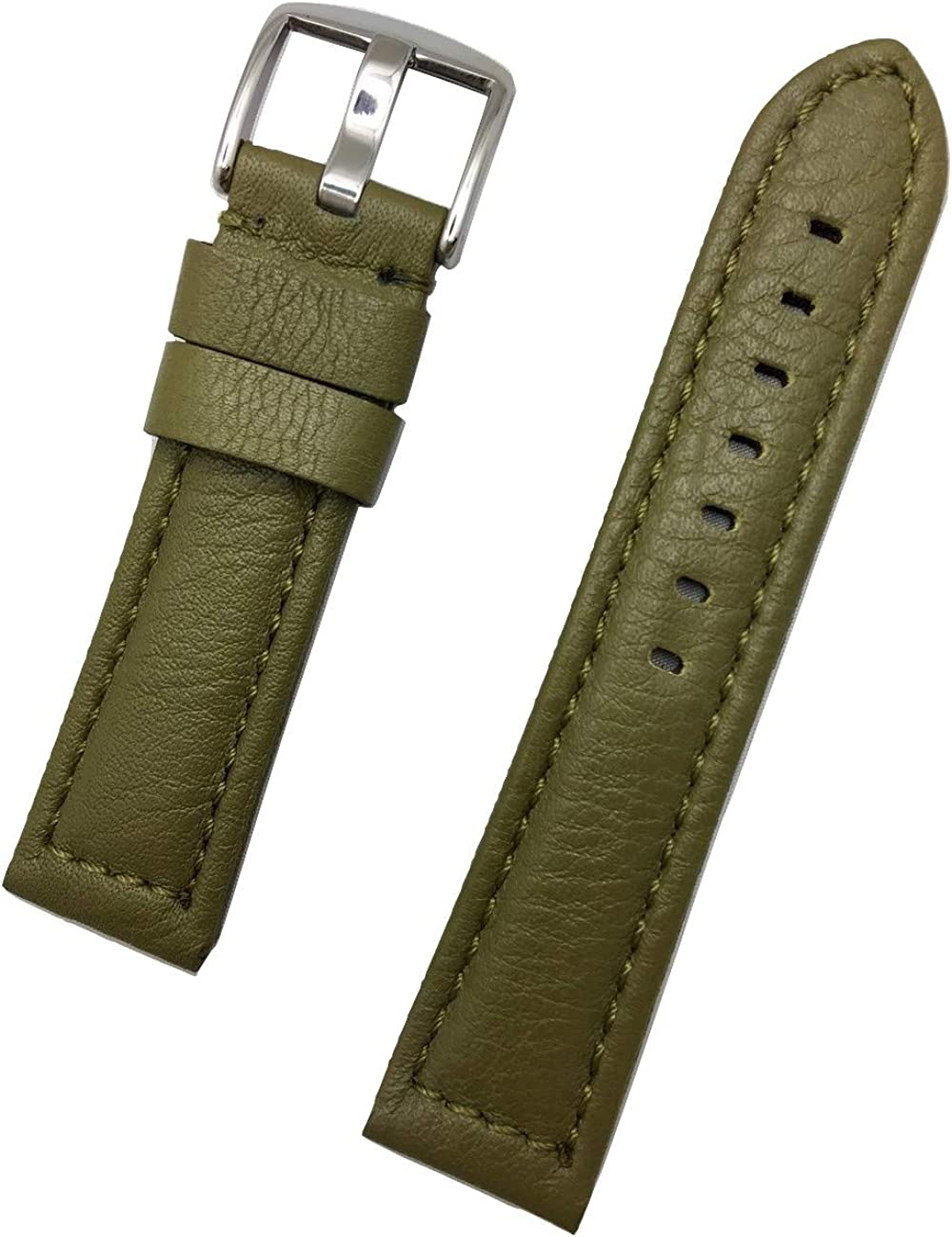 22mm Green Leather Watch Band Compatible with Panerai Watch | Soft, Smooth, Medium Padded Replacement Wrist Strap Bracelet that brings New Life to Any Watch (Mens Standard Length)