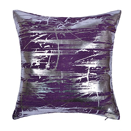 JWH Silver Foil Throw Pillow Case Linen Decorative Cushion Cover Home Sofa Car Bed Living Room Decor Pillowcase Digital Print Shell 17 x 17 Inch Purple (Purple Silver And Pillows)