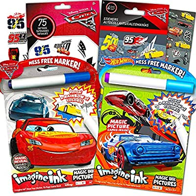 Amazon.com: Disney Cars And Hot Wheels Magic Ink Coloring Book Set Kids  Toddlers -- Bundle With 2 Imagine Ink Coloring Books With Invisible Ink  Pens, 50 Cars Temporary Tattoos And Over 100