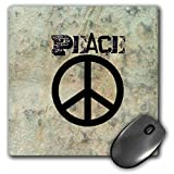 3dRose LLC 8 x 8 x 0.25 Inches Mouse Pad, Stone Wall Peace Sign Art Symbols Sixties (mp_29360_1)