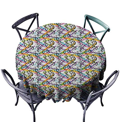 (duommhome Animal Print Decorative Textured Fabric Tablecloth Abstract Snake Skin Pattern with Colorful Geometrical Lines Modern Hipster Indoor Outdoor Camping Picnic D55 Multicolor)