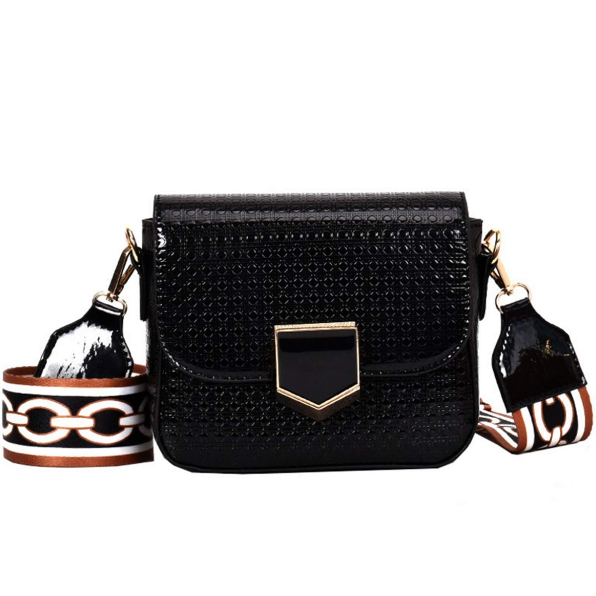 MM&SS SHOP Patent Leather Crossbody Purse For Women,Satchel Purse With Wide Strap Hang Out Shoulder Bags(Black)