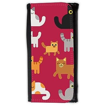 Cartera para hombre // Q05010615 Gatos dibujos Brillante Marrón // Large Size Wallet: Amazon.es: Electrónica