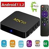 TV Box, 4GB+32GB Super-VIP Smart 4K TV Box Android 7.1 RK3328 Octa Cora CPU Wifi Set Top Boxes 3D 4K Ultra HD TV (MX10 4+32GB)