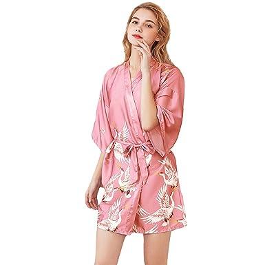 JYY Bata larga de kimono para mujer Bata de seda Bata de baño de ...