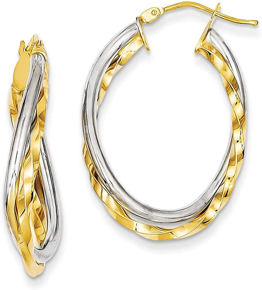 Lex /& Lu 14k Two-tone Gold Textured and Polished Twist Hoop Earrings